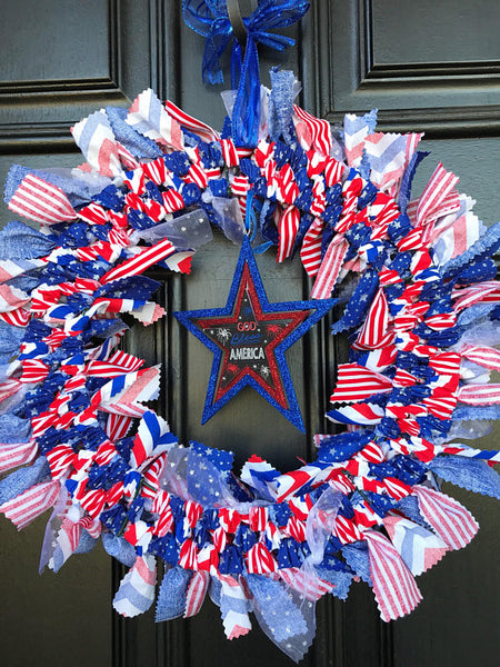 "Stars and Stripes 14"" rag tie wreath"