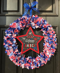 "Stars and Stripes 20"" Rag Tie Wreath"