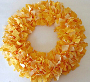 Sunshine Yellow Rag Tie Fabric Wreath