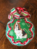 Christmas Santa hat Bassett Hound Ornament