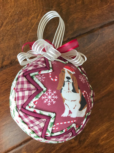 Bassett Hound Burgundy Christmas Ornament