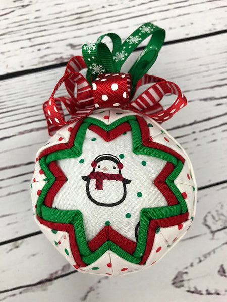 Penguin in Snow fabric quilted Christmas ornament