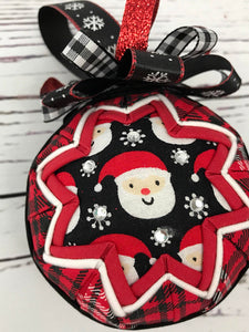 Santa In Plaid Christmas Ornament Ball