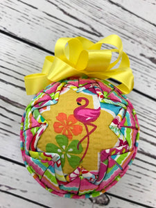 Flamingo Fun fabric quilted ornament