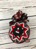 Santa hat in Plaid fabric quilted ornament