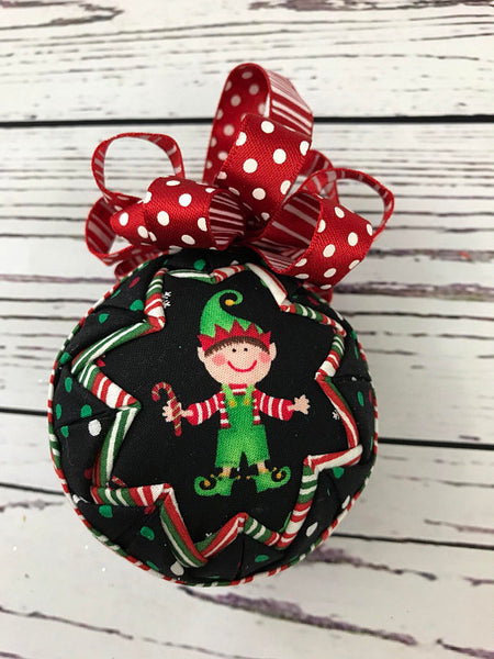 Jolly Elf Christmas fabric quilted ornament