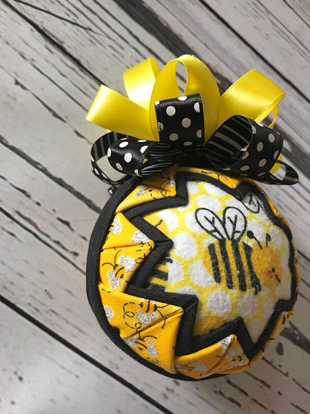 Bumble Bee Fabric Quilted Ornament