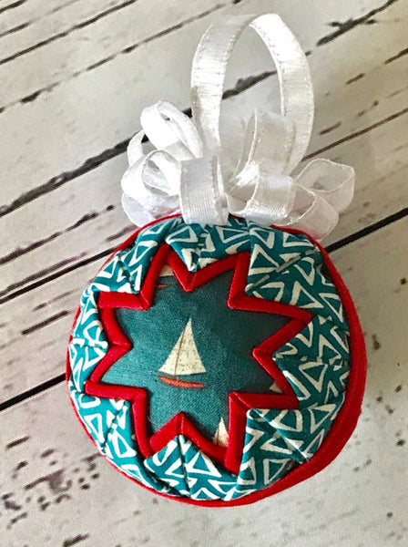 Sail Away fabric quilted ornament