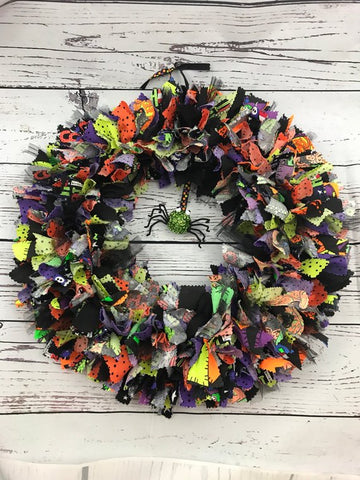Along Came A Spider Halloween rag Tie Fabric Wreath