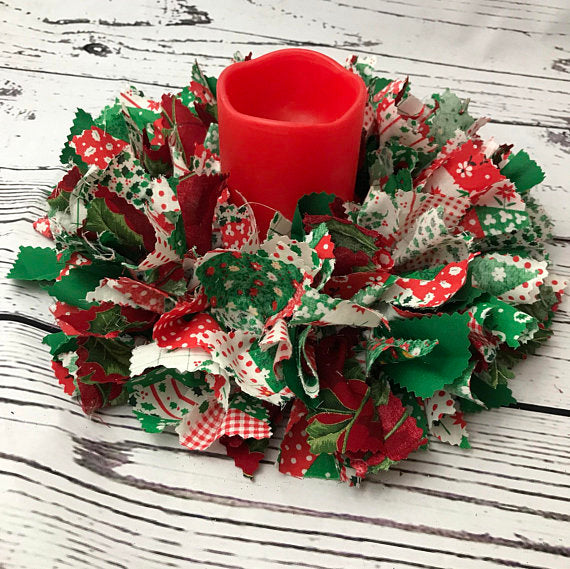 Red and Green Fabric Christmas Centerpiece with Candle