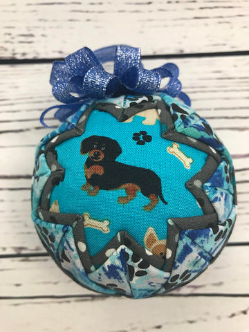 Dachshund Dog fabric quilted ornament