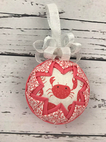Cute Coral Crab quilted fabric ornament