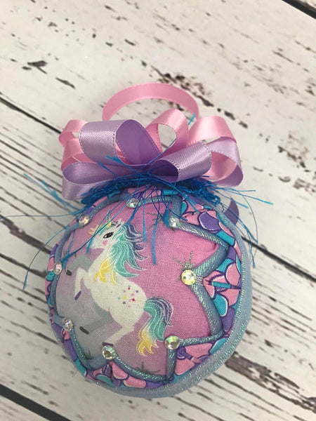 Dancing Unicorn Fabric Quilted ornament
