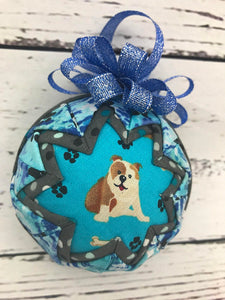 Bulldog Dog fabric quilted ornament