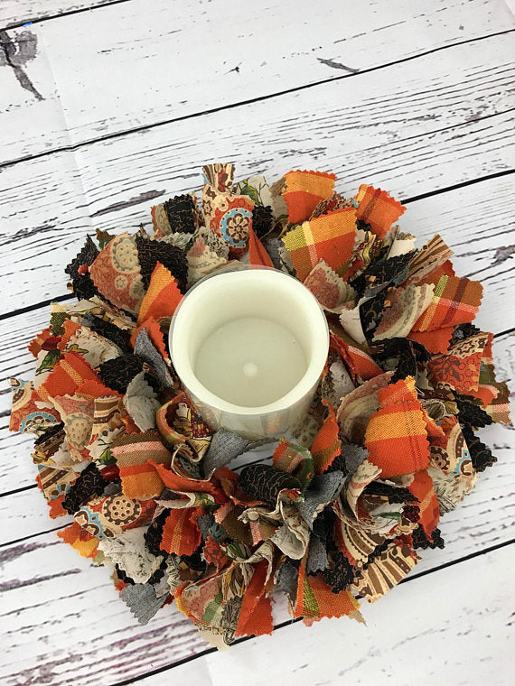 Thanksgiving fall Table Centerpiece with Candle