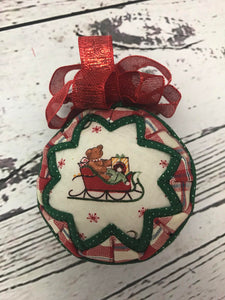 Bear-ing Santa's Gifts on Sleigh Christmas Ornament