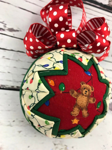 Bear and Christmas Lights holiday ornament