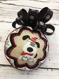 Farmhouse Christmas Dog Fabric Quilted Ornament