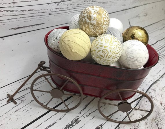 Holiday Gold and Silver Rag Ball Bowl Filler Set