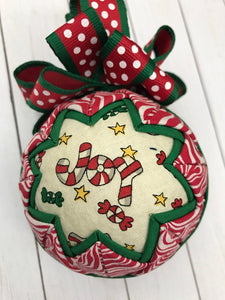 Christmas Joy Fabric Quilted Ornament