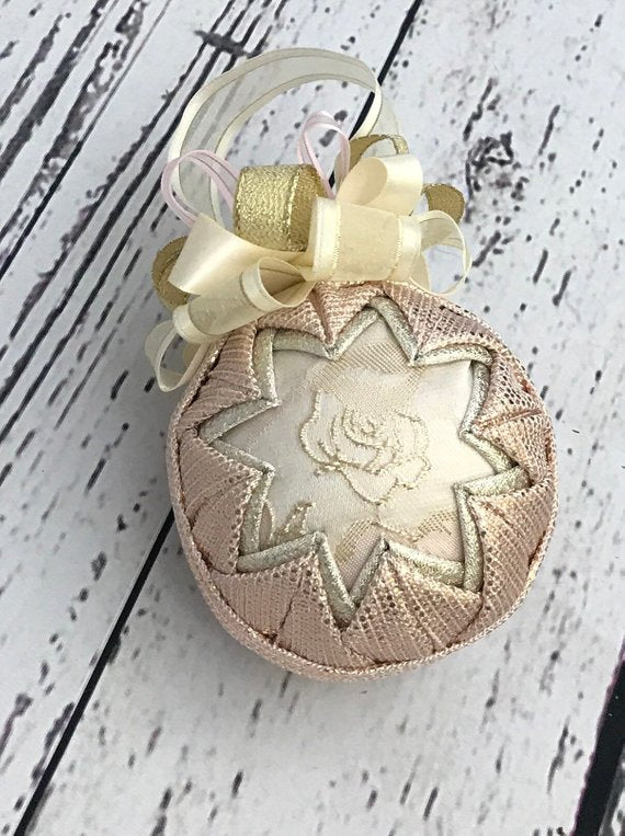 Rose Gold Fabric Quilted Holiday Ornament