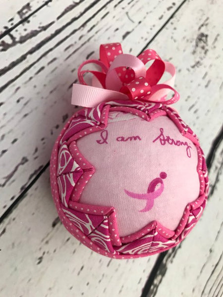 I AM hope, strong, fearless breast cancer support ornament