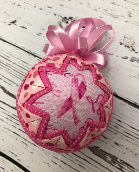 Breast Cancer Ribbon & Dots Ornament