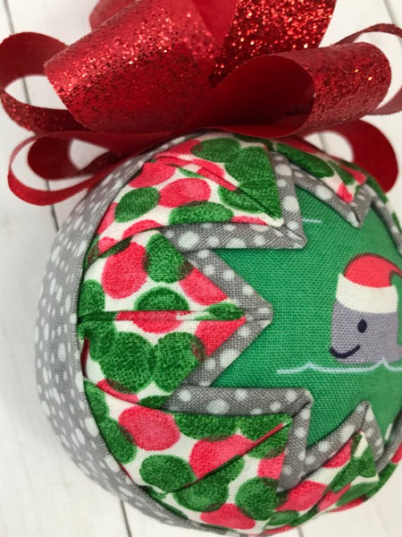 Santa Whale Christmas Fabric Quilted Ornament