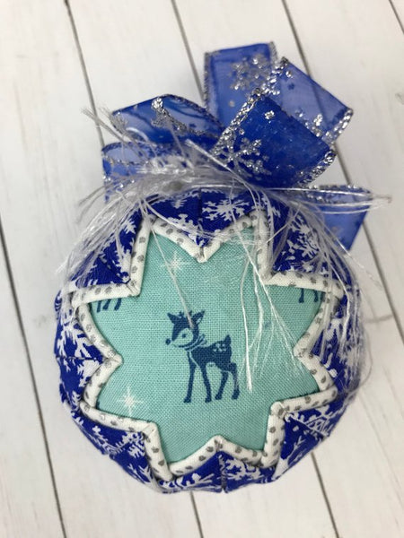 Blue Christmas Deer Snowflake Fabric Ornament