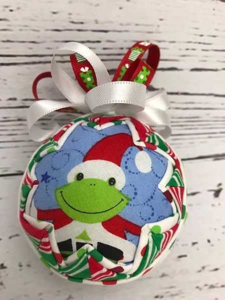 Hoppy Christmas Frog Fabric Quilted Ornament Ball