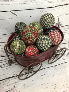 Homespun Plaid Fabric Wrapped Christmas Rag Balls Farmhouse