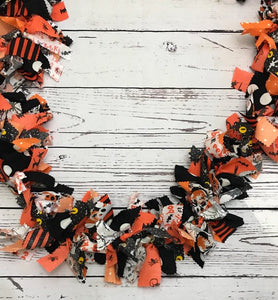 Halloween Black and Orange Fabric Rag Tie Garland