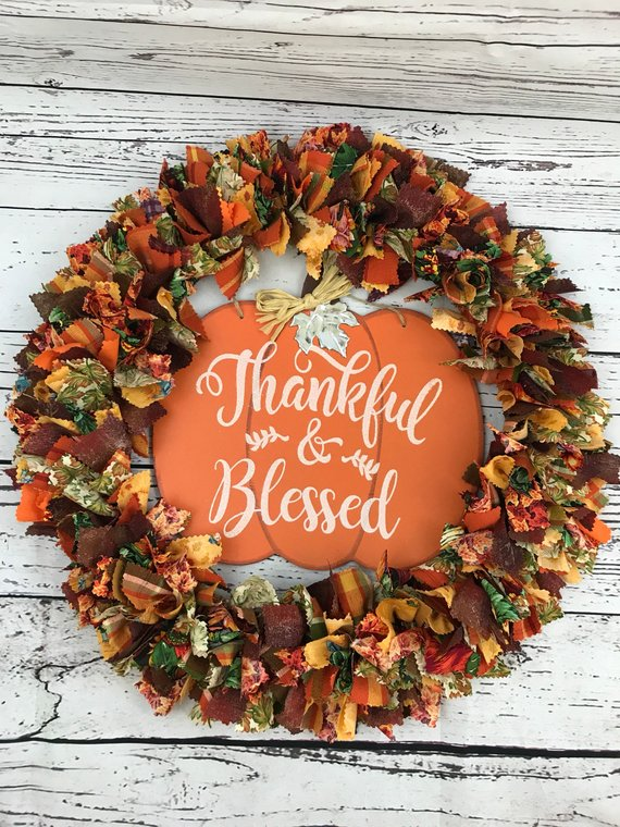 Thankful and Blessed Fall Rag Tie Wreath