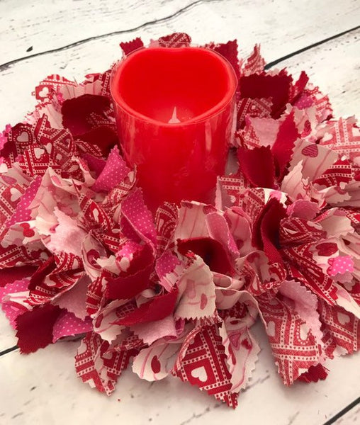 Valentines day Rag Tie Table centerpiece