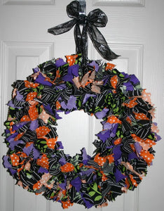 Not Just For Halloween rag tie wreath