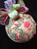 Rose Garden Fabric Quilted Ornament