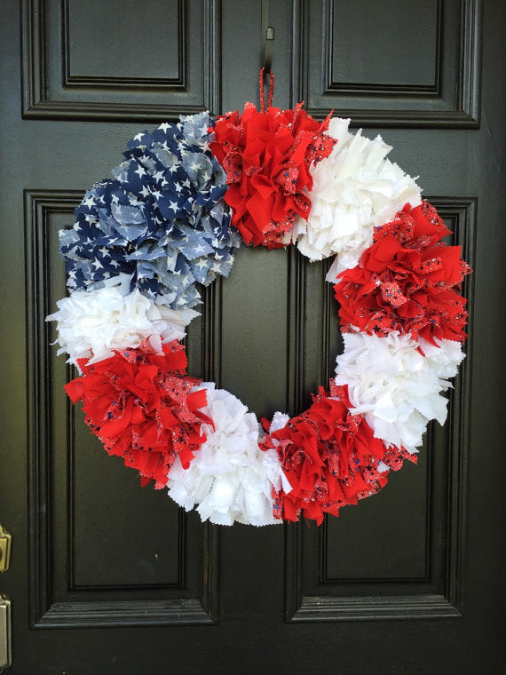 American Flag Replica rag tie wreath