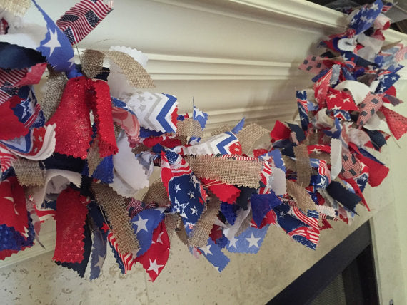 Patriotic Red, White, Blue Fabric Garland