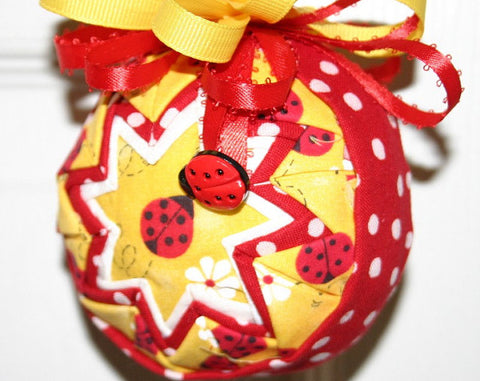 Ladybug Yellow and Red Fabric Quilted Ornament