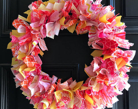 Mums the Word rag tie spring summer wreath