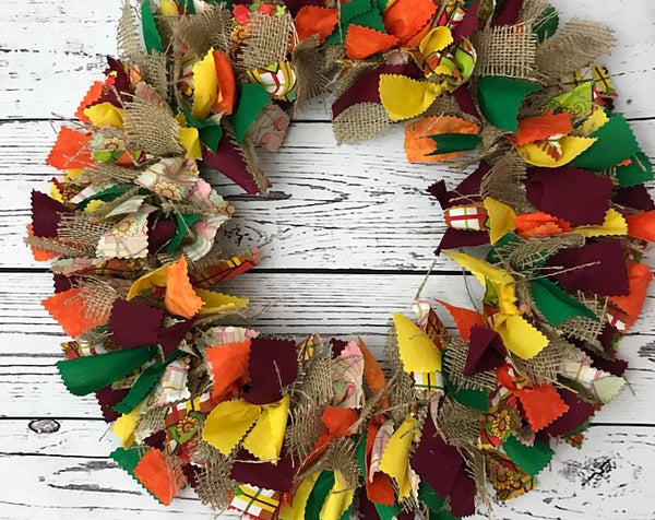 Harvest Time Fall Rag Tie Fabric Wreath with Burlap for Thanksgiving