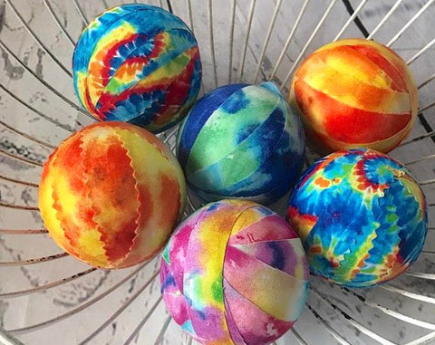 Tie Dye Fabric Ball Bowl Filler Orbs set