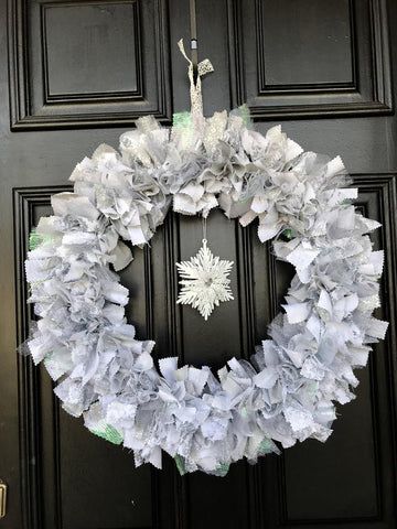 Snowflake rag tie winter holiday wreath
