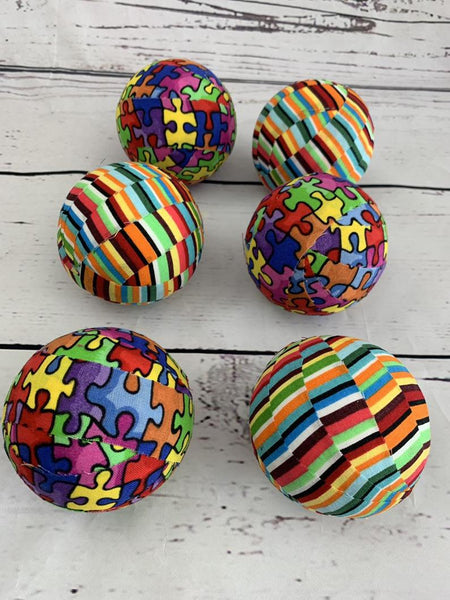 Autism puzzle piece fabric wrapped ball set bowl filler orbs