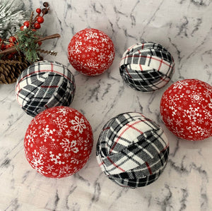 snowflakes and plaid christmas winter holiday fabric wrapped balls