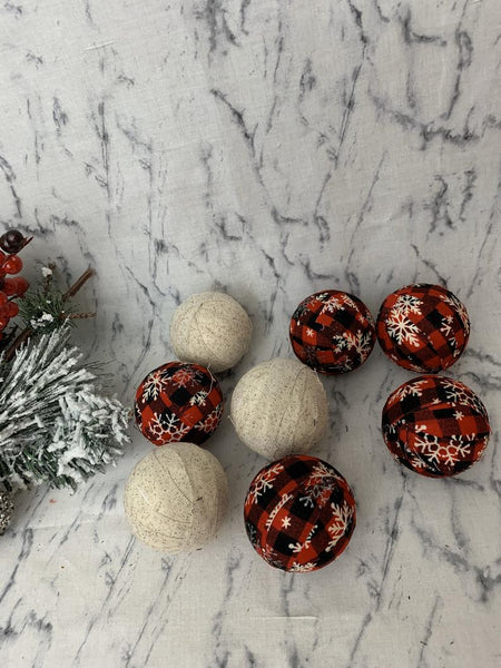 Red plaid and burlap fabric wrapped rag ball bowl fillers- christmas decor