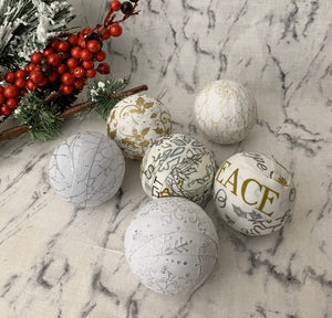Silver Gold White Fabric Wrapped Holiday Balls- decoration set Christmas