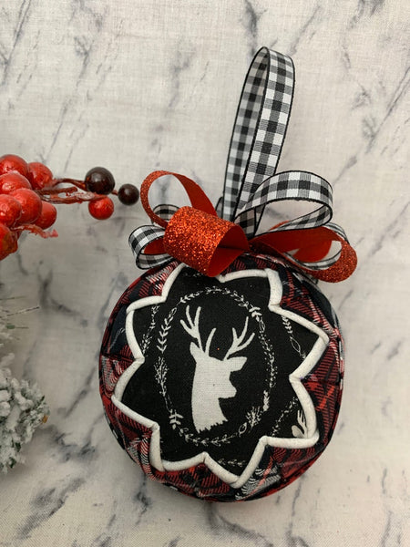 Oh Deer Christmas Quilted Ornament