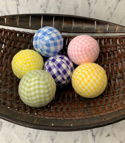 Spring Easter gingham plaid fabric wrapped balls- bowl filler set