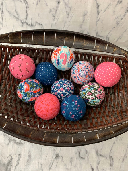 pink Blue Floral fabric wrapped balls- bowl filler set of 10
